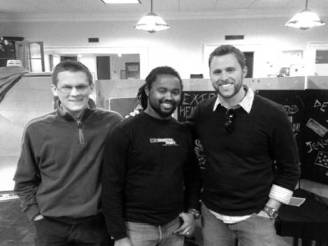 Chris, Kenneth Wallace and Jonathan Pugh at Guilford College